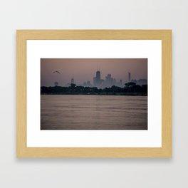 Chicago's lakefront one hazy summer morning Framed Art Print