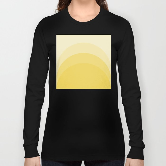 Four Shades of Yellow Curved Long Sleeve T-shirt