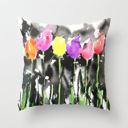 Sumie No.16 Tulips Throw Pillow