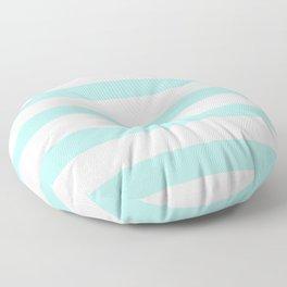 Aqua blue and White stripes lines - horizontal Floor Pillow