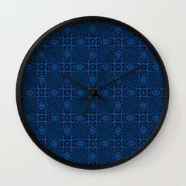Lapis Blue Geometric Floral Abstract Wall Clock