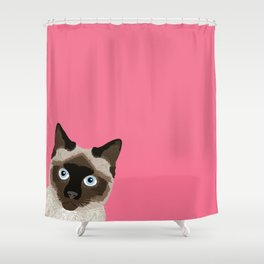Peeking Siamese Cat - Funny cat meme for cat lovers, cat ladies gifts for cat people Shower Curtain