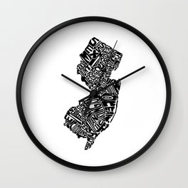 Typographic New Jersey Wall Clock
