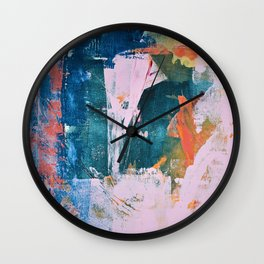 The Sword in the Stone: a vibrant abstract painting in blues pink and yellow by Alyssa Hamilton Art  Wall Clock