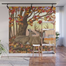 Hilltop Retreat Whitetail Deer Painting Wall Mural