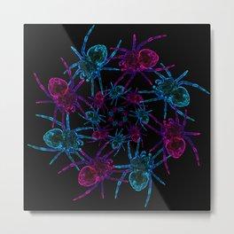 Neon spider spiral Metal Print