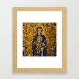 Mosaic Mary and Jesus Framed Art Print