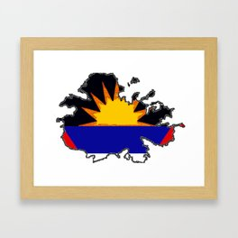 Antigua Map with Antiguan Flag Framed Art Print