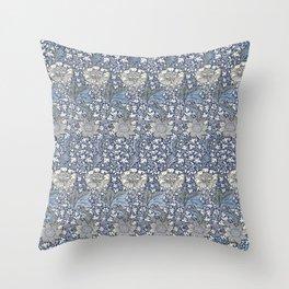 William Morris Navy Blue Botanical Pattern 7 Throw Pillow