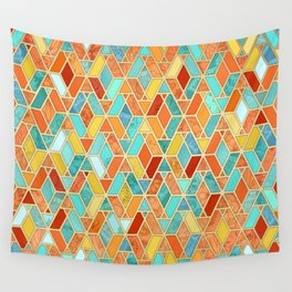 Tangerine & Turquoise Geometric Tile Pattern Wall Tapestry
