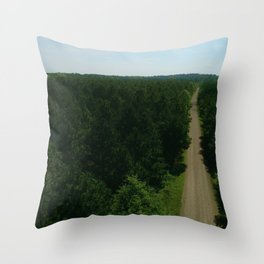 Aerial Southern Lush Green Forest with a Dirt Road in Louisiana Throw Pillow