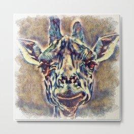 Watercolors - Giraffe Metal Print