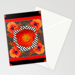 CLASSIC YELLOW-RED POPPIES GARDEN BLACK ART Stationery Cards