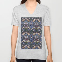 William Morris Strawberry Thief Pattern Unisex V-Neck