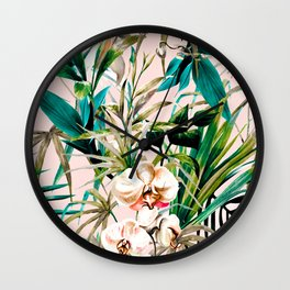Pattern floral tropical 001 Wall Clock