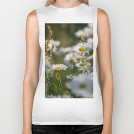 Daisies meadow in the summer Biker Tank