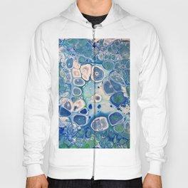 Blue Green Cells Fluid Pour Art Marble Swirls Stone Hoody