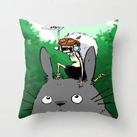 mononoke Throw Pillows featuring Mononoke by Caity Hall Art