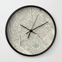 Vintage Map of Dallas Texas (1901) Wall Clock