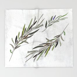 Eucalyptus Leaves White Throw Blanket