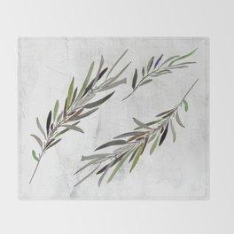 Eucalyptus Leaves White Throw Blanket