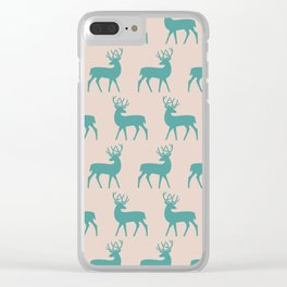 Mid Century Modern Deer Pattern Dusty Turquoise and Beige 3 Clear iPhone Case