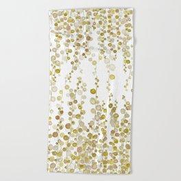 golden string of pearls watercolor Beach Towel