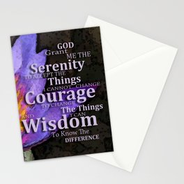Serenity Prayer With Lotus Flower By Sharon Cummings Stationery Cards