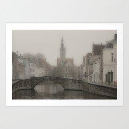 Misty Bridge of Bruges Art Print