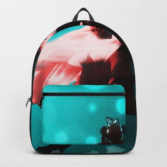 Aqua N Pink Retro Sunflower N Bee Backpack