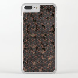 Copper Gold and Black Hexagons Geometric Pattern Clear iPhone Case