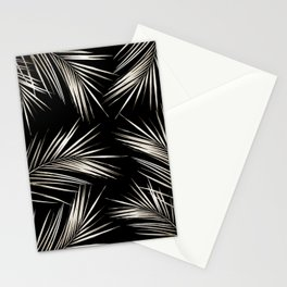 White Gold Palm Leaves on Black Stationery Cards
