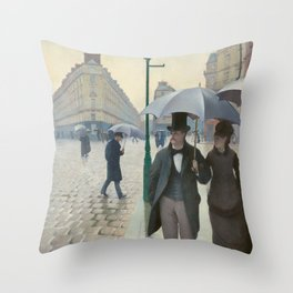 Gustave Caillebotte - Paris Street; Rainy Day Throw Pillow