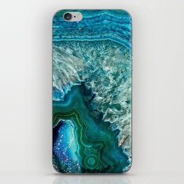 Aqua turquoise agate mineral gem stone- Beautiful backdrop iPhone Skin