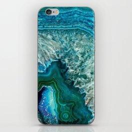 Aqua turquoise agate mineral gem stone iPhone Skin
