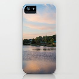 Morning Dew | Nature Landscape Photography of Peaceful Cabin by the Lake During Sunrise iPhone Case