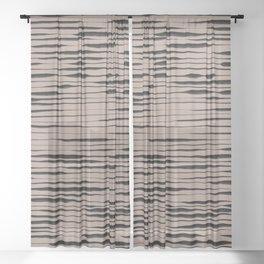 Hand Painted Lines / Dark Beige Sheer Curtain
