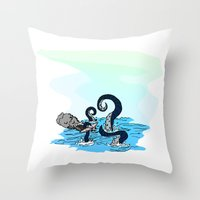kraken Throw Pillows featuring Kraken by JKyleKelly