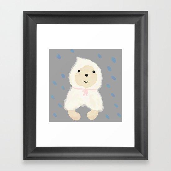 Alternative rain wear(Retriever wears a plastic bag in the rain) Framed Art Print