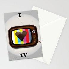 I Love TV vintage poster Stationery Cards