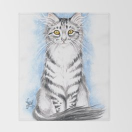 Silver Tabby Cat Throw Blanket