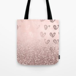 Rose Gold Sparkles on Pretty Blush Pink with Hearts Tote Bag