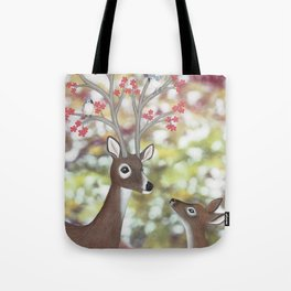 white tailed deer, tufted titmice, & cherry blossoms Tote Bag