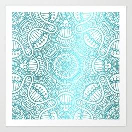 Turquoise Ethnic Pattern With Mandalas Art Print