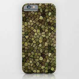 Seaweed and Juniper Cobbled Patchwork Terrazo Pattern iPhone Case