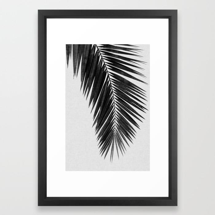Palm leaf black white i framed art print