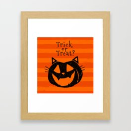 Trick or Treat? Halloween cat lady Framed Art Print