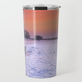 Typical Dutch landscape with windmill in winter at sunrise Travel Mug