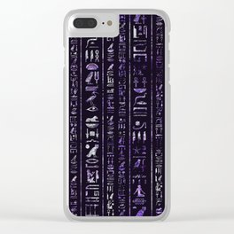 Amethyst and Silver Egyptian hieroglyphics pattern Clear iPhone Case