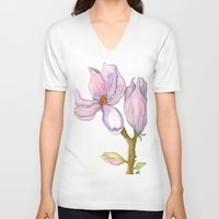 magnolia V-neck T-shirts featuring Magnolia by Coffee and Pen